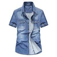 Summer Short Sleeve Shirts for Men Casual Denim Shirt Cotton Jeans Shirt High Quality Male Clothes Blue Cowboy