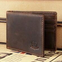 Heißer Verkauf! Top qualität Fashion Crazy Horse Echtes Leder Männer Geldbörse Brieftasche münzfach geldbörse karte Kostenloser versand
