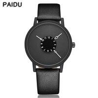 Paidu Black White Genuine Leather Band Wrist Watch Mens Boy Analog Dial Digital Gift Wristwatches