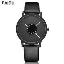 Paidu Moda Fresco Diseño Único Dial Horas Reloj de Cuarzo de la Placa Giratoria Negro Para Mujer Para Hombre Unisex Regalo relogio masculino