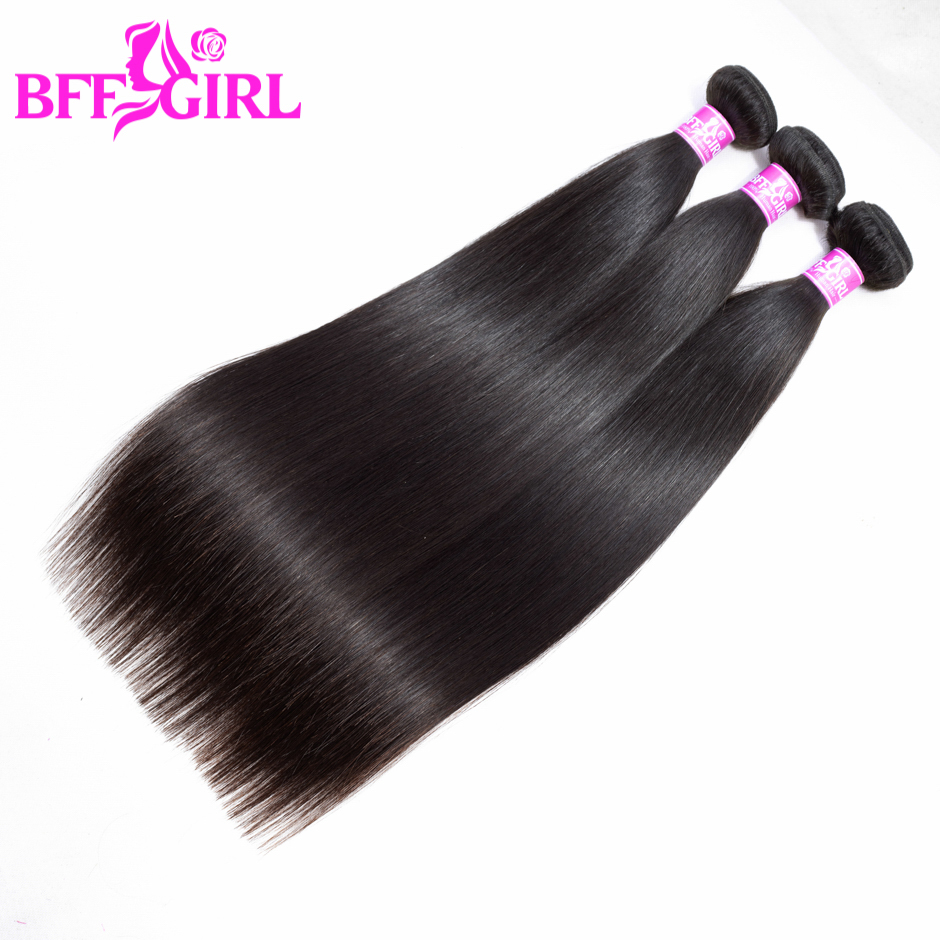 BFF GIRL Peruvian Straight Hair Bundles 3pcs/lot 100% Human Hair 10-30 Inches Natural Color Non Remy Hair Weaves Extension