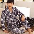 Hombre camisa de dormir establece pijama conjunto de franela suave adulto de chándal ajustado salón de manga larga ropa de noche ocasional