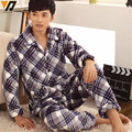 Men Nightwear Sets Pajamas Soft Flannel Set Adult Fitted Tracksuit Lounge Long-sleeve Casual Sleepwear