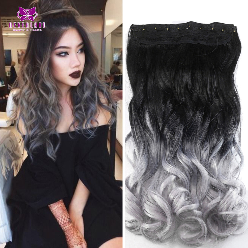 24 60cm curly wavy hair extention ombre silver grey 34 full head 24 60cm curly wavy hair extention ombre silver grey 34 full head clip in synthetic hair extensions 5clips dip dye hairpiece on aliexpress alibaba pmusecretfo Image collections