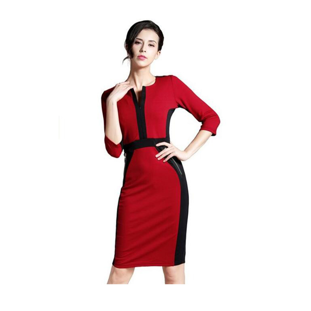 0f4d3d77a 2016 Impressão Mulheres Vestido O-Neck Mangas 3 4 Bodycon Lápis Vestidos  Verão Roupas de Estilo Escritório de Negócios