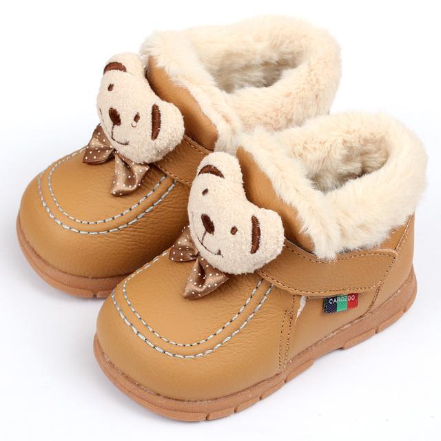 Venta caliente del bebé botas de invierno Botas de Nieve niño Recién Nacido Bebé de Cuero botas De Niña Zapatos de Bebé Infantil Kid Primeros Caminante Zapatos de Marca