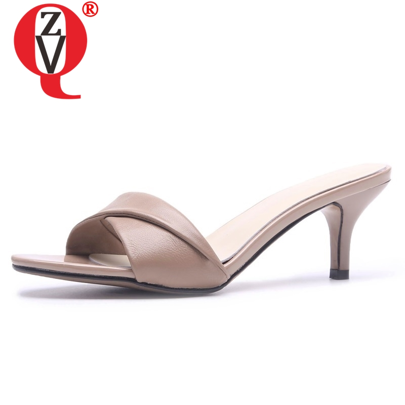 ZVQ shoes woman summer new fashion sexy open toe handmade genuine leather woman slippers outside high