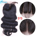 7A  Brazilian 5x5 Lace Closure With Baby Hair ,100% Virgin Human Hair Lace Cloaure Body Wave 3/Middle/Free Part DHLFree Shipping