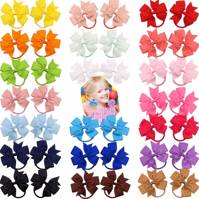 40Pcs (20Pairs) Baby Girl Grosgrin Ribbon Hair Bows Ponytail Holder Boutique Hair Bows Elastic Tie for Teens and Young Women