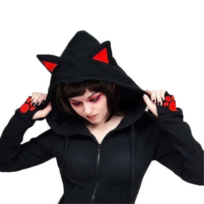 f3b79a62a1f14 Gothic Womens Sweatshirts Hoodie Tops Black Red Cat Ear Long Sleeve Cropped  Sweatshirt Hooded Pullover Tolstovka