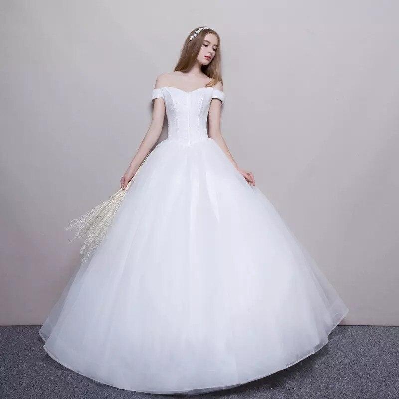 a5423334bd6f726 Holievery с открытыми плечами Свадебные платья короткими рукавами 2019  бисером тюль свадебное платье Пол Длина Marrige
