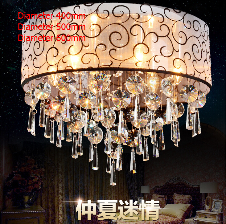 modern k crystal ceiling lights cloth lampshade decoration crystal ceiling fixtures lamp luminarias para sala teto