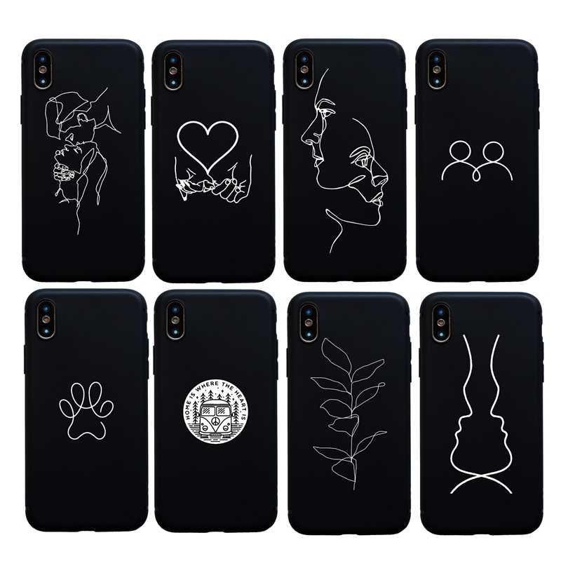 Homem menina beijo coração arte macio silicone caso para iphone x xs max xr 6s 7 8 plus 11 pro max telefone capa abstrata funda coque