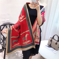 Winter New Carriage Scarf Warm Shawl Thicken Tassels Horse cashmere like fashion show poncho cape womens pashmina luxury brand