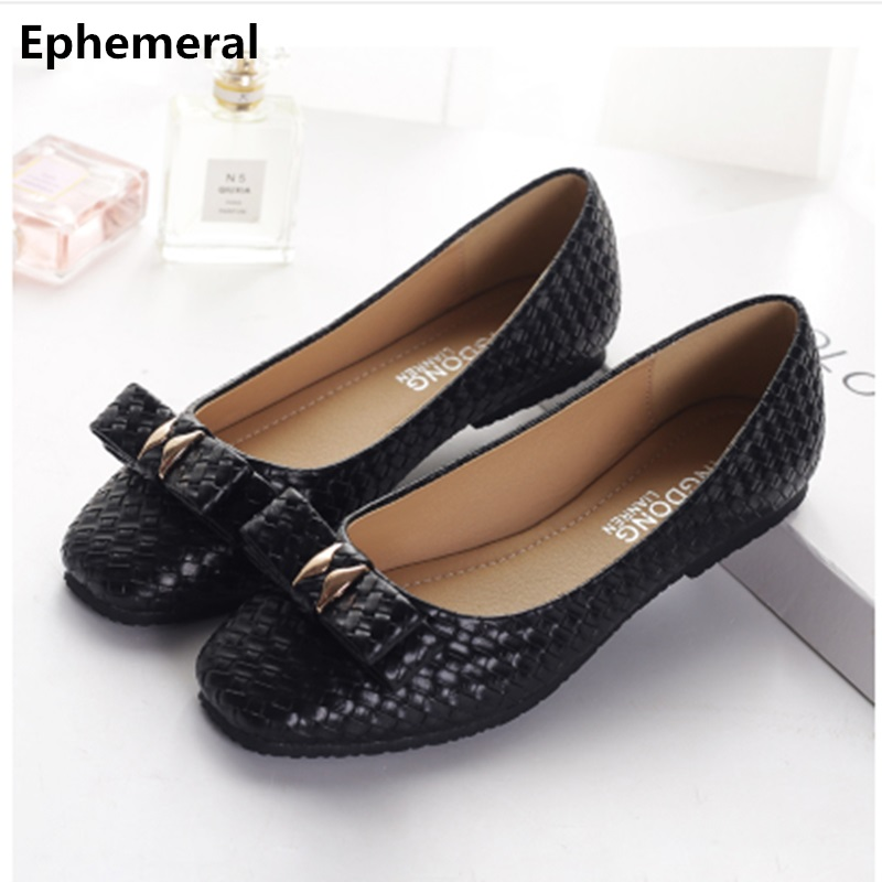 Ladies Square Toe Flats Spongy Sole Bow Shoes Weaving Comfortable Footwear For Wide Foot White Black Plus Size 3-48 7 46 No Heel