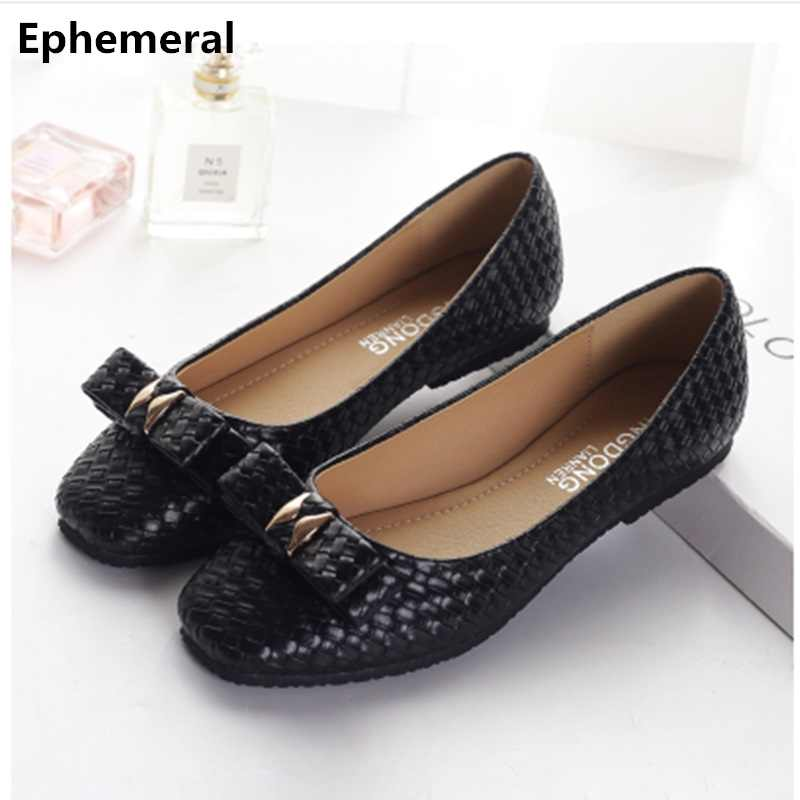 2566254331c6 Ladies Square Toe Flats Spongy Sole Bow Shoes Weaving Comfortable Footwear  For Wide Foot White Black