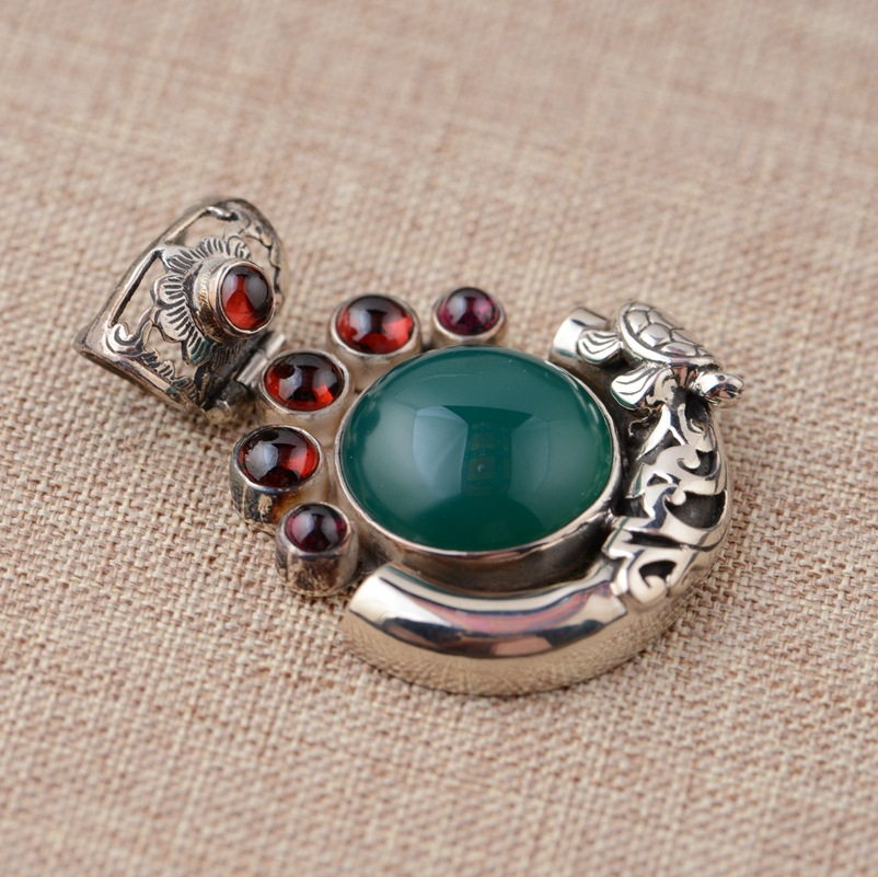 Thai silver pendant S925 silver inlaid Pendant antique style female personality imported from Thailand ritmix rh 012 red