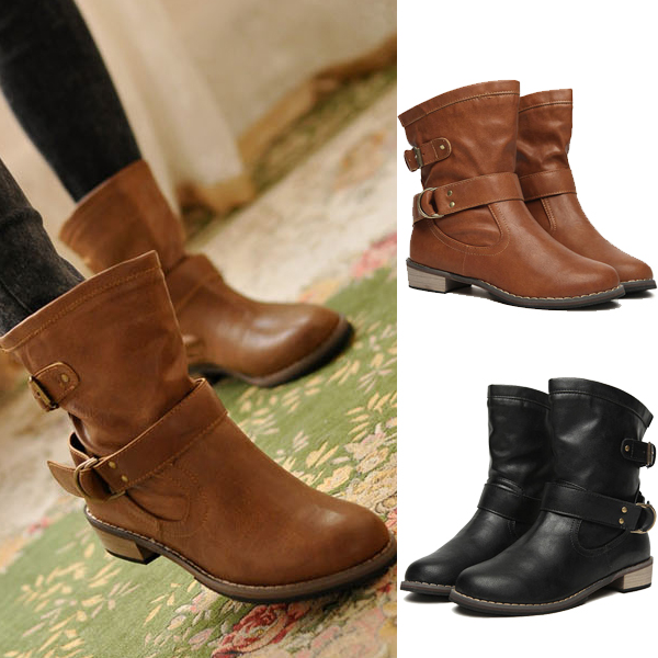 Women British Style PU Leather Short Flat Ankle Martin Boots