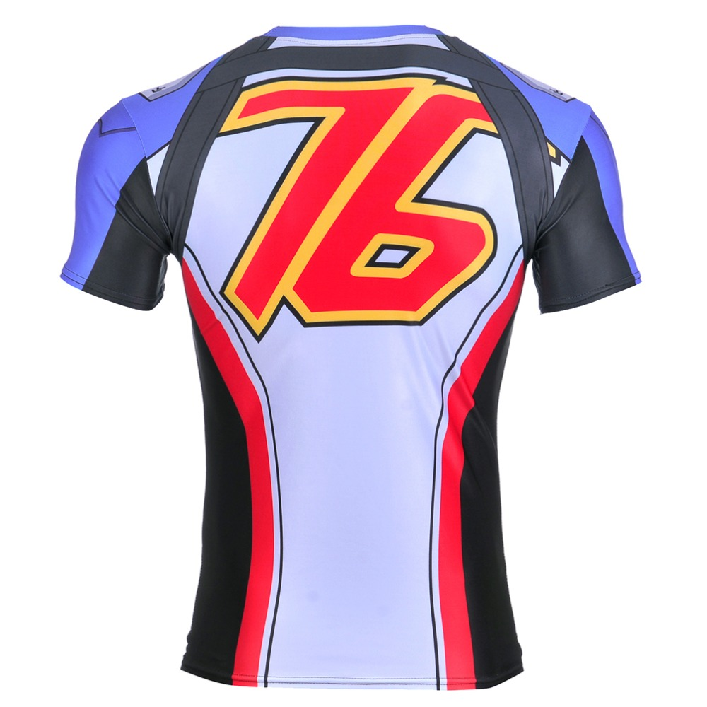 2017 Summer Hi-Q Quick-dry Fitness Mens T-shirt Short Sleeve Men Tees 0062 Blizzard Game OW Soldier 76 Cosplay Zipper Prints