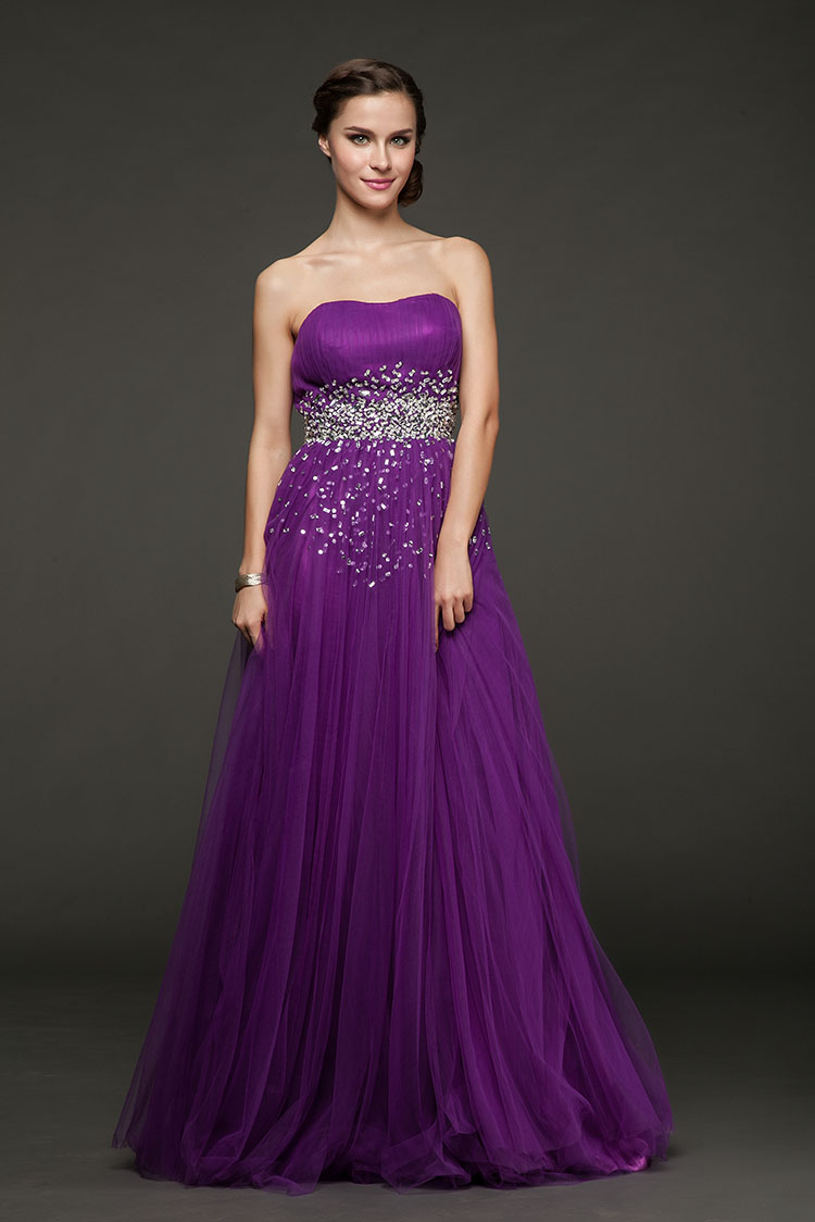 Cena de lujo moldeado cristalino púrpura larga diseño criada de las ...