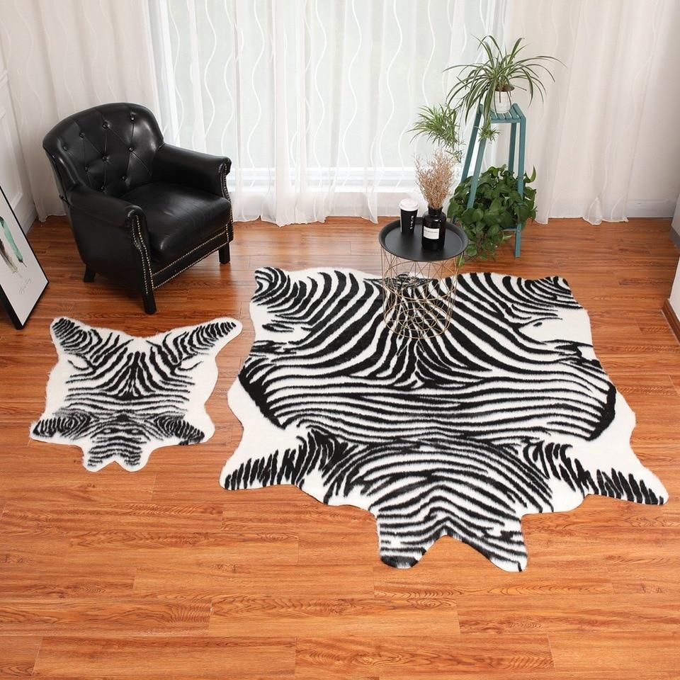 Zebra stripe Rug Cow Leopard Tiger Printed Cowhide faux skin ...