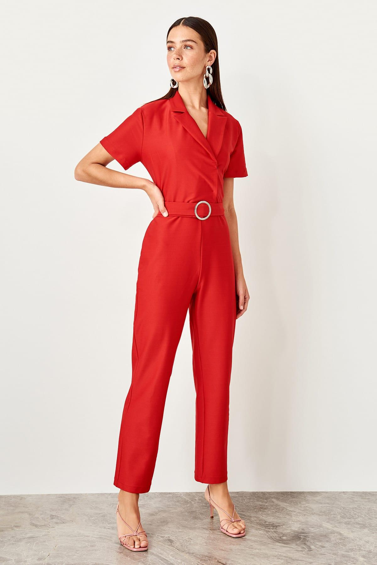 Trendyol Red Arched Knitted Jumpsuit TWOSS19XM0122