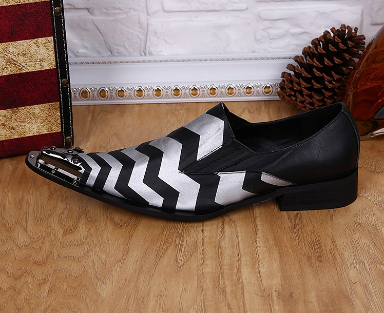 ch.kwok New Zebra Printed Leather Iron Tips Foreign Trade Pointed Men's Shoes...
