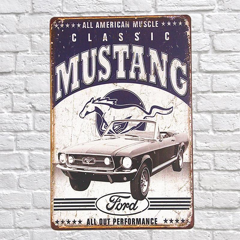 Estilo Vintage All American Muscle Classic Mustang signos decorativos de metal 20x30 cm hierro pintura bar pub Wall art placas de metal