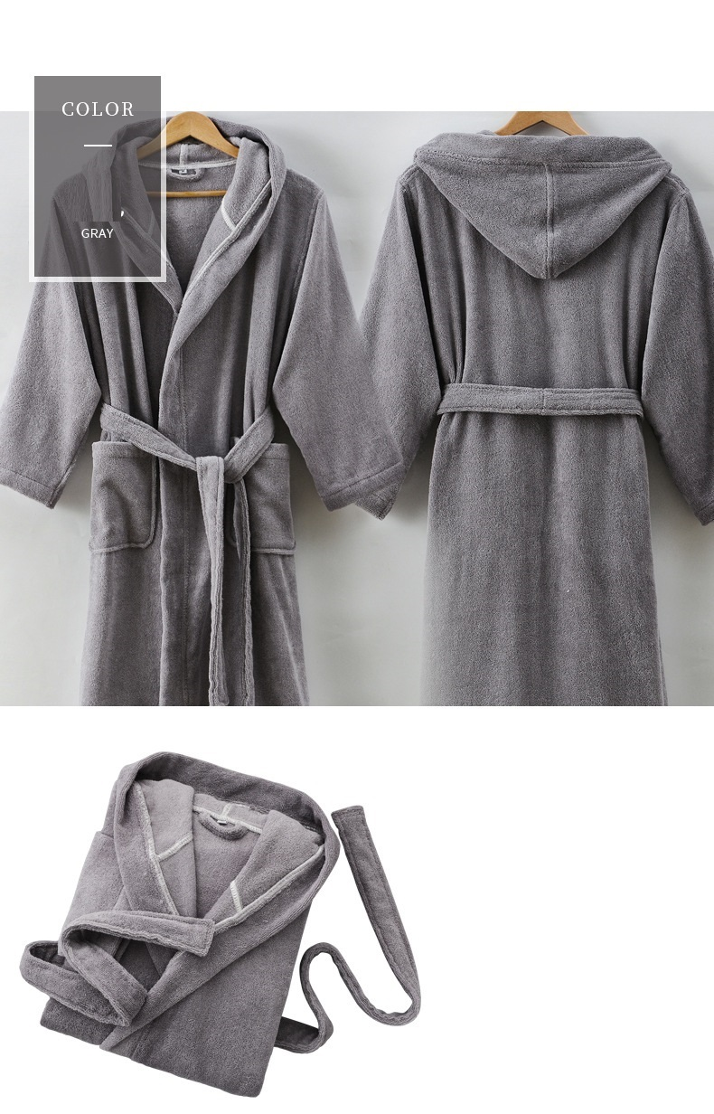 2018Spring Autumn winter thick pure cotton plain color bathrobes robe Unisex long-sleeve hooded terry bathrobe plus size pijamas