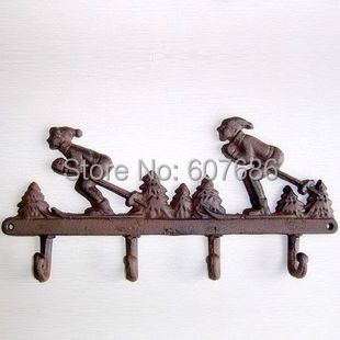 2 Pieces Practical Country Rural Wrought Iron Skiing Hallstand Metal Wall Mount Key Holder Hook Hanger