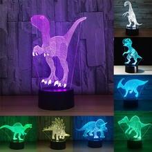 Рождественский подарок 3d динозавр акриловый светодиодный ночсветильник