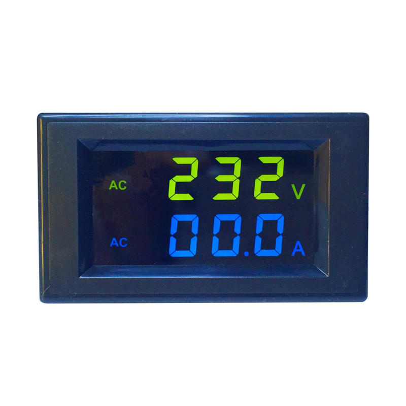 Mini Digital Voltmeter Ammeter AC 300V 100A Panel Amp Volt Current Meter Tester Blue Green Dual LED Display Free Shipping