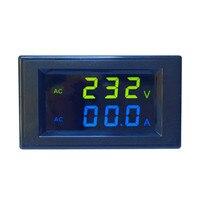 Mini Digital Voltmeter Ammeter AC 300V 100A Panel Amp Volt Current Meter Tester Blue Green Dual LED Display Free Shipping