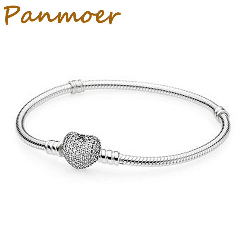 100% 925 sterling silver fashion love snake bone chain Bracelet for women fit pandor charms original DIY Jewelry making chain