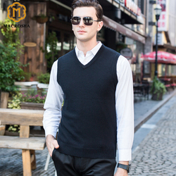 MACROSEA High-end 96.3% Cashmere Men's Cashmere Sweater Men's Formal Business Sweaters Office Wear Knitted Cashmere Vest 8137