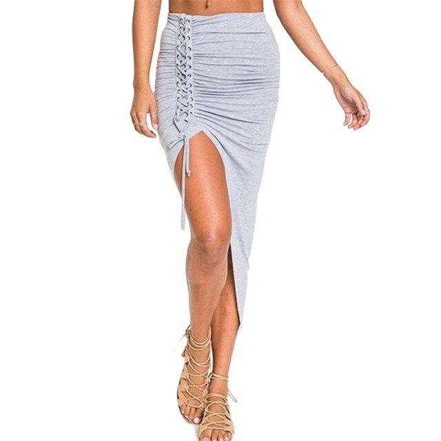 Plus Size 2016 Sexy Women Long Mid Calf Skirts Elastic Waist Bandage Lace Up Bodycon Slim Skirt Vintage Asymmetry Ladies Skirts