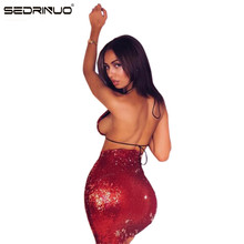 Sedrinuo Summer Style Sexy V neck Lace Up Ladies Dress Backless Club Party Dresses Prom Red Sequin Clothing Women Sets