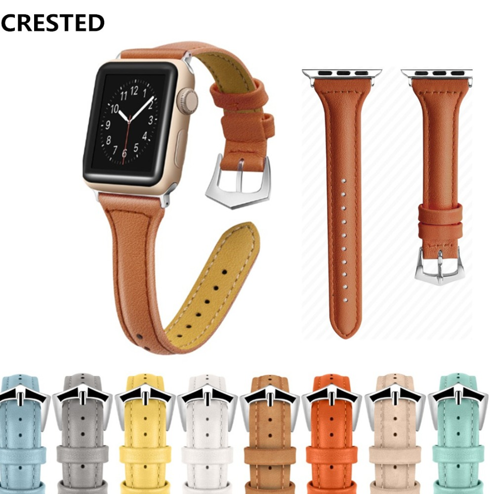 CRESTED Leather strap For Apple Watch band Strap 42mm 38mm iwatch series 3 2 1 Wrist bracelet belt Watchband correa crested crazy horse strap for apple watch band 42mm 38mm iwatch series 3 2 1 leather straps wrist bands watchband bracelet belt