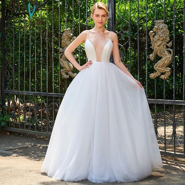 Dressv Spaghetti Straps Ball Gown Wedding Dress Sleeveless Tulle ...