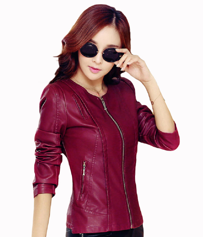 Flying ROC 2018 autumn winter women jackets long sleeve O-neck   leather   PU lady coats waterproof bike zipper jackets