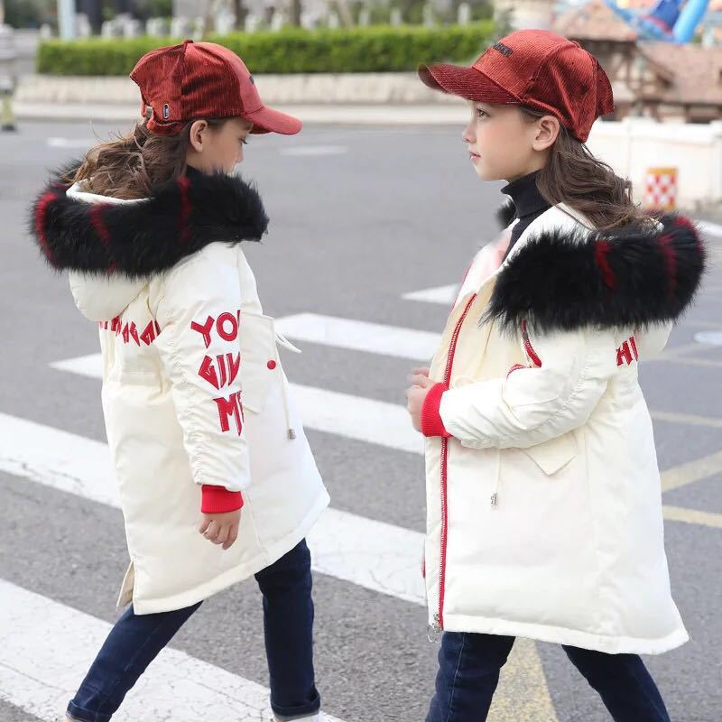 Winter Jacket for Girl Down Toddler Girl Winter Clothes Coat Parkas Stylish Kids Winter Coats with Fur Hood Thick Warm Outerwear winter children s jacket for girl thick long warm coat kid fashion girl colorful fur collar outerwear clothes kids winter parkas