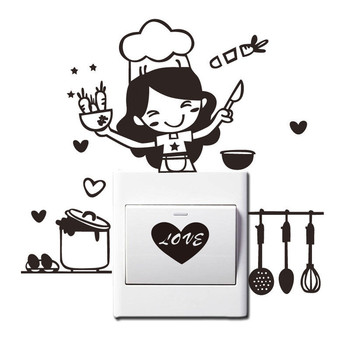 18*20cm Kitchen Light Switch Sticker Cute Cook Vinyl Wall Decal Home Decor PVC Wallpaper for living room Wall-papers Decorations