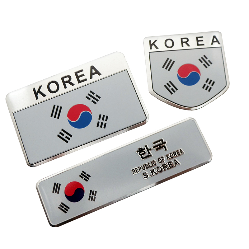 3D Metal Korea National Flag Badge Car Front Grill Grille Emblem Sticker Racing Sports Decal For Hyundai Kia Renault Ssangyong
