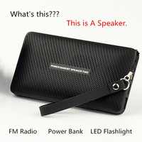 5 в 1 бумажник Форма Беспроводной Bluetooth Динамик громкой связи Мощность банк музыкальный плеер с светодиодный фонарик Поддержка TF карты FM рад...