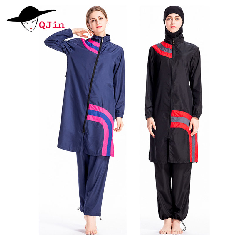 все цены на Full Coverage Women Muslim Swimsuit Modest Islamic Suit 3 Pieces Connected Hijab Arab Long Swimwear Burkinis for Girl Plus Size