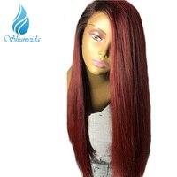 Shumeida 1bt99j赤オンブルレースの前部かつら人間の髪の毛ブラジル150%グルーレスレースのフロント人間の髪の毛のかつらシルキーストレートかつらレミー