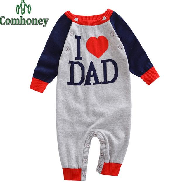 Me Encanta Mamá y Papá Mamelucos Recién Nacidos Niños Niñas Ropa Suéter Que Hace Punto Mameluco Del Invierno Del Bebé Niño de Manga Larga Mono Infantil