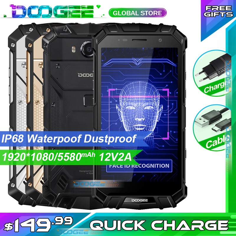Fast Shipping DOOGEE S60 LITE IP68 Waterpoof Dustproof Wireless Mobile Phone 5580mAh 4GB 32GB NFC Smartphone