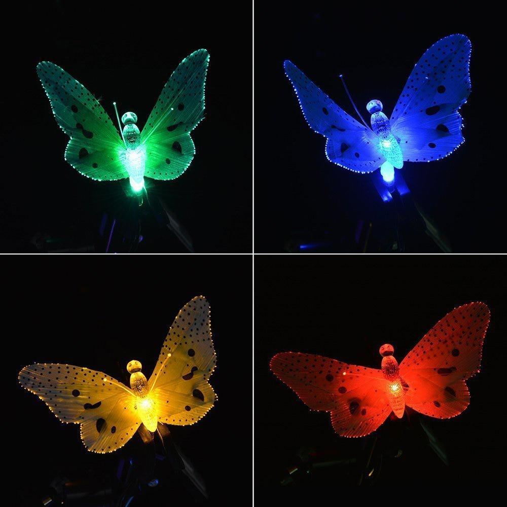 12 Led Solar Powered Farfalla Fibra Ottica Leggiadramente Della Stringa Impermeabile Esterna di Natale Giardino Luci di Festa Festival Decor T0.2