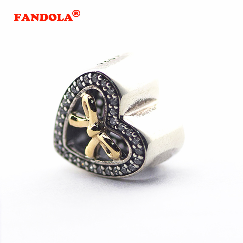Fits for Pandora Charms Bracelets Bound By Love Beads with 14K Real Gold and Clear CZ 100% 925 Sterling-Silver-Jewelry Free Ship